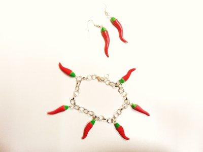 Bracelet et boucles d'oreilles piments__#