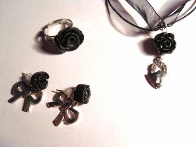 Parure rose noire__#