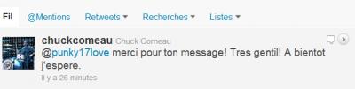 chuck qui répond a mon message sur twitter.
