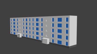 Début de la modélisation d'un immeuble du quartier