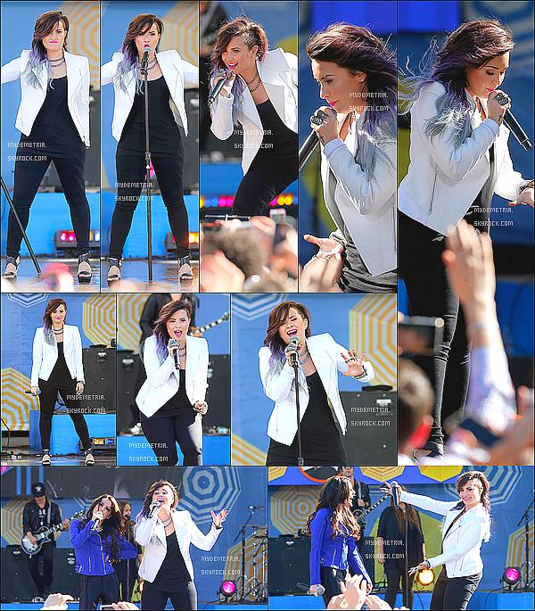 ". 06/06/2014 : Demi performant ""really don't care"" avec Cher  Lloyd au Good Morning America .."