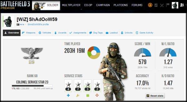 [ ShAdOoW59 ] Battlefield 3 Premium : Colonel 23eme étoiles ! [A Jour]