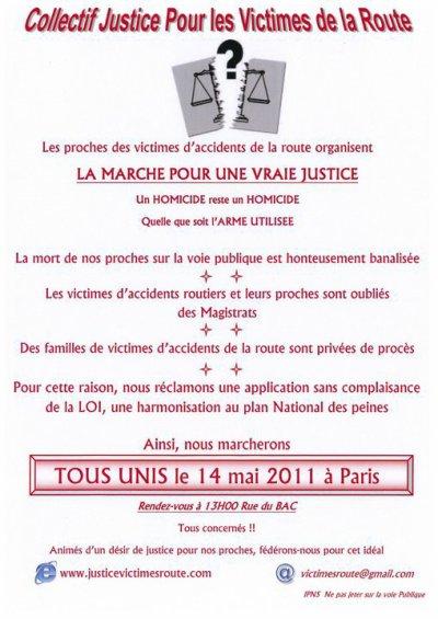 Marche blanche le 14 mai 2011 à paris, par le collectif jstice pour les victimes de la route