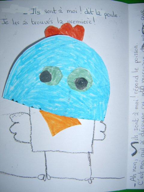 Thème abordé: Le vent, la poule, le poisson, l'oiseau, l'escargot,la grenouille (livre à fabriquer et à souffler)