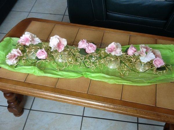 Centre de table mariage rose
