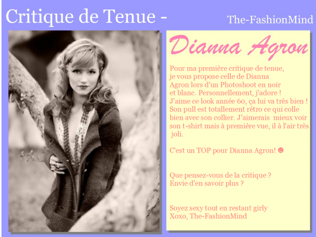 Critique de Tenue n°1 - Dianna Agron