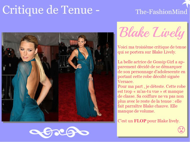 Critique de tenue n°3 - Blake Lively