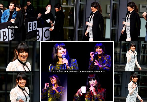 """21/04/17 ─  En promo,  Lea Michele s'est rendue aux studios « BBC Breakfast » à Manchester, Angleterre.En effet Lea enchaîne les promotions pour son nouvel album """"Places"""" en ce moment en Angleterre, je lui met un bof pour sa robe vintage. Des avis?[/alig fen]"""