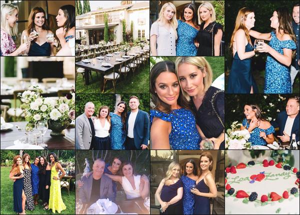 """"""" •  28/07/18    —   Lea Michele et Zandy Reich ont organisés une fête pour célébrer leurs fiançailles à Los Angeles, Californie.Lors de cette soirée, le couple était entouré de leurs familles et amis, dont Ashley Tisdale et Emma Roberts. Je leur accorde un grand top !  """""""