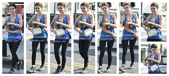 ------------+ 13/05/2016 : Lucy a été photographiée par les paparazzis sortant de Starbucks coffee dans les rues - LA Lucy était vêtue d'une tenue sportwear décontractée. La miss a même gardé la coiffure de l'évenement de la veille. TOP pour Lucy ------------+