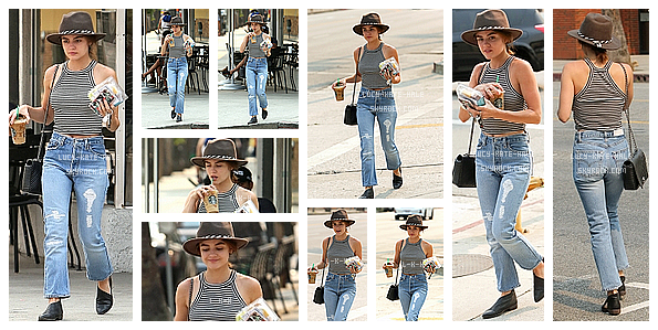 ------------+ 23/07/2016 : Sortant tout juste du tournage de PLL, Lucy a été photographiée faisant du shopping - LA La tenue de Lucy est simple mais jolie. Cependant, je n'adhère pas à la casquette. Par contre j'adore ses chaussures. TOP ------------+