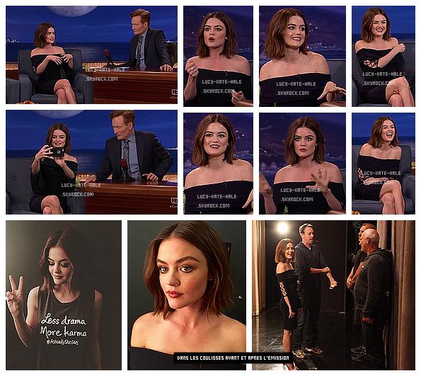 ------------+ 10/06/2016 : Vendredi soir, Lucy s'est rendue sur le plateau de l'émission de Conan à - Los Angeles La tenue de Lucy est très jolie. Le bleu lui va bien. Lucy n'était pas trop maquillé et sa coiffure était simple alors TOP ! ------------+