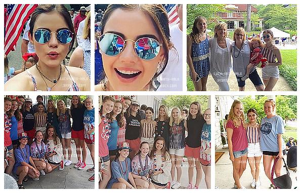 ------------+ 04/07/2016 : En ce jour de fête nationale au US, Lucy était avec sa famille dans les rues de - Menphis Le haut de Lucy au couleur du drapeau est vraiment à croquer j'adore ! Ses lunettes sont très jolie aussi. TOP pour la miss ! ------------+