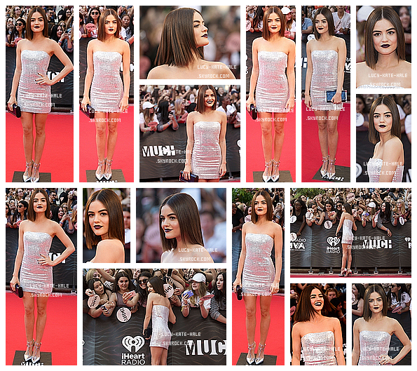 ------------+ 19/06/2016 : Lucy en arrivant au Much Music Video Awards a performé sur le red carpet à - Toronto La robe de Lucy est juste splendide. La mise en beauté est à tomber par terre surtout le rouge à lèvre et ses cheveux lisses. ------------+