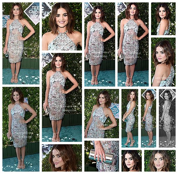 ------------+ 31/07/2016 : Lucy ainsi que le cast de PLL ont assisté à la cérémonie des « Teen Choice Awards 2016 » Lucy s'est illustrée dans une robe signée Azzaro. Lucy n'a pas eu de prix mais PLL a remporté celui de meilleure série dramatique. ------------+