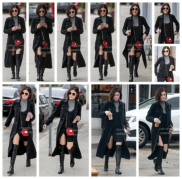 ------------+ 21/02/2017 : Lucy a été photographié -seule- allant chercher un Starbucks dans West Hollywood à - LA Lucy était vêtue d'unemagnifique robe noir fendu sur le coté et paire decuissarde. Lucy a coupé ses cheveux. Gros TOP ! ------------+