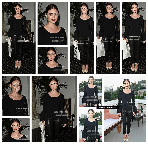 ------------+ 26/07/2016 : Lucy a été vue à la soirée d'ouverture du « Elizabeth and James Store » au Château Marmont Je suis sous le charme de sa tenue composée de noir et ses escarpins blanc. J'adore sa mise en beauté. Une nouvelle fois TOP !  ------------+
