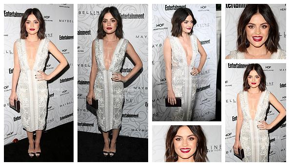 ------------+ 28/01/2017 : Lucy était à la soirée organisée par Entertainment Weekly en l'honneur SAG Awards - LA Troian était également présente. Lucy était vraiment magnifique dans cette robe à décolleté plongeant blanche! J'adore. TOP ! ------------+