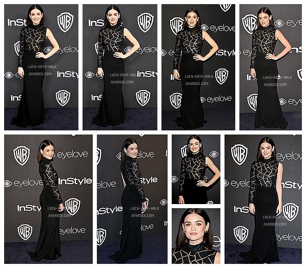 ------------+ 08/01/2017 : Lucy été présenteà l'after party des Golden Globes organisé par Warner Bros - Los angeles Lucy était vêtue d'une magnifique robe noir qui l'a mettait très bien en valeur. Legère et fraiche mise en beauté. Gros TOP ! ------------+