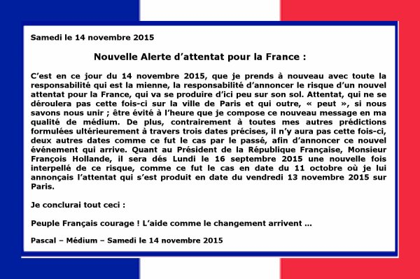 Nouvelle Alerte d'attentat pour la France...