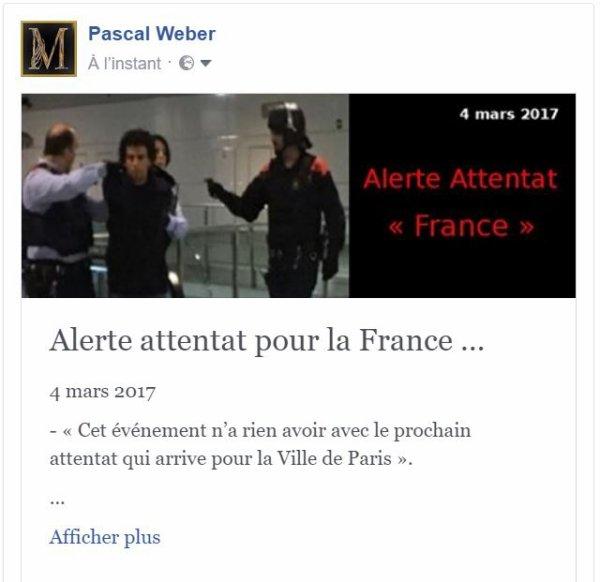 Alerte attentat pour la France … 4 mars 2017