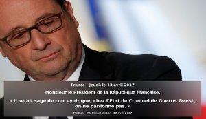 Monsieur le Président de la République Française …