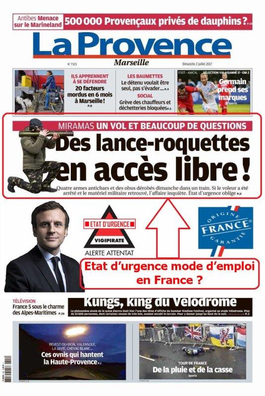 Etat d'urgence mode d'emploi en France ?  http://www.laprovence.com/