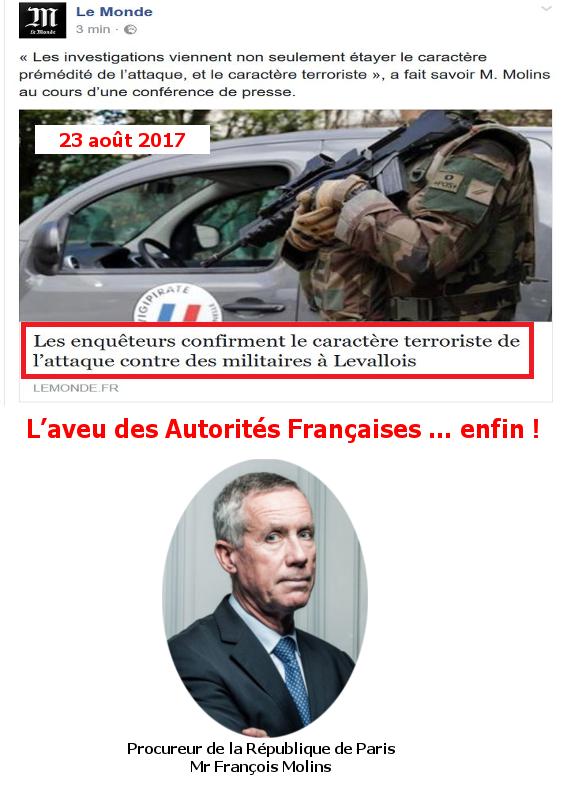 – 23 août 2017 –  L'aveu des Autorités Françaises … enfin !