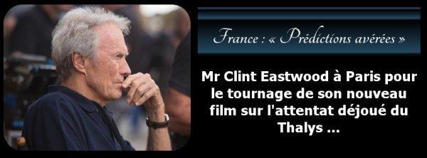Mr Clint Eastwood à Paris pour le tournage de son nouveau film sur l'attentat déjoué du Thalys …