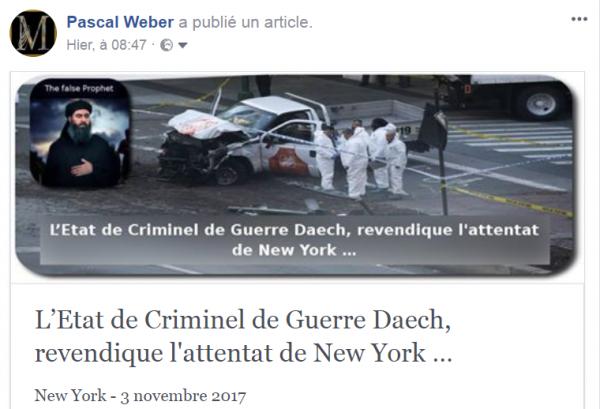L'Etat de Criminel de Guerre Daech, revendique l'attentat de New York …