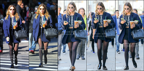 11/10/15 : La jolie Ashley a été aperçue seule marchant dans les rues de New York, puis dans un parc pour déjeuner !