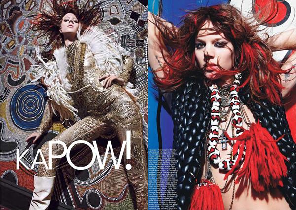 Kapow ! - Mario Sorrenti, W mag September 2011 • Sasha Pivovarova & Freja Beha