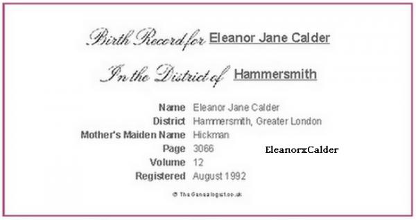 Facts + Acte de naissance d'Eleanor
