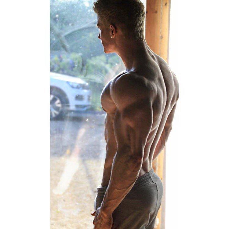 blond man young beautiful body muscular