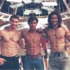 Three beautiful young sexy shirtless guy naked and muscular