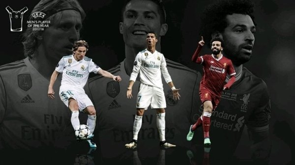 Modric, Cristiano et Salah, candidats à l'UEFA Player of the Year.