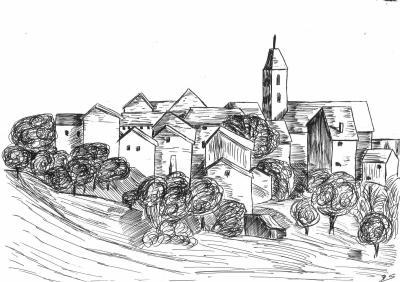 Paysage village de quezac quelques dessins made in - Village dessin ...