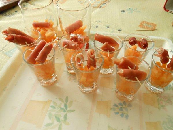 Verrines de melon et jambon