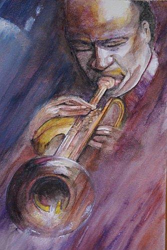 Jazzman à l'aquarelle