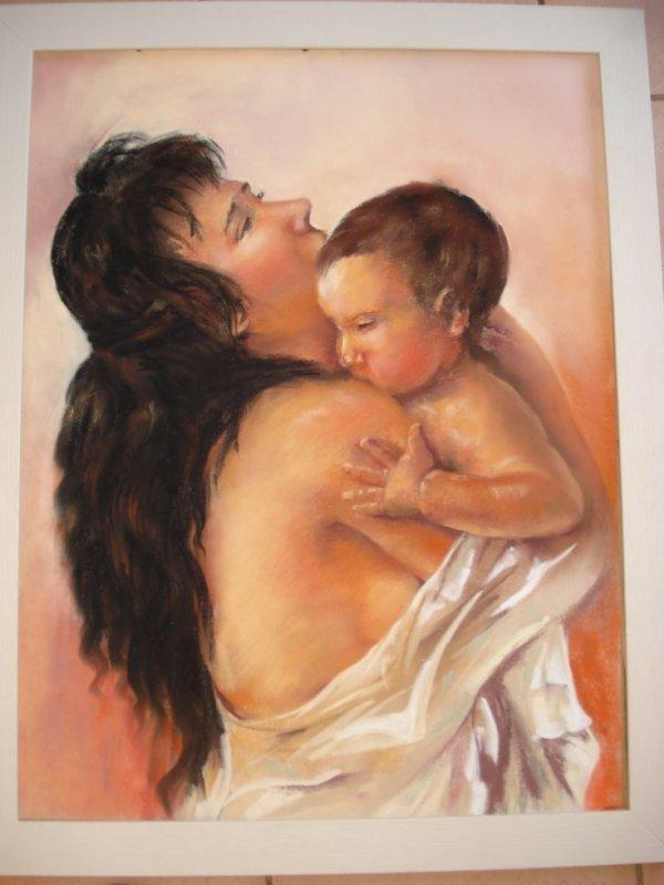 Maternité d'après le merveilleux pastelliste José Luis Fuentetaja