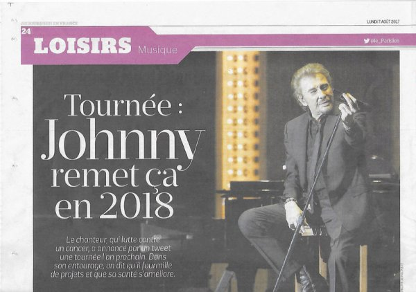 Johnny Hallyday annonce une nouvelle tournée en 2018