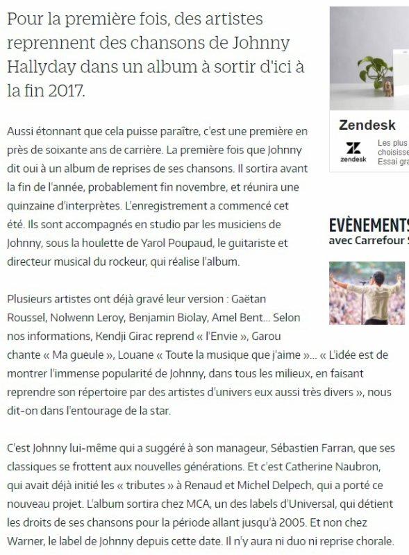 JOHNNY HALLYDAY,UN ALBUM DE REPRISES LUI SERA BIENTÔT CONSACRÉ