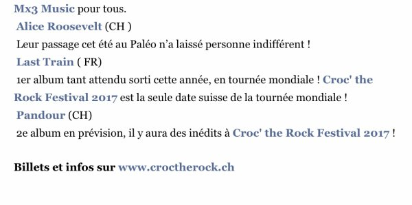 CROC THE ROCK 19, 20, 21 OCTOBRE 2017