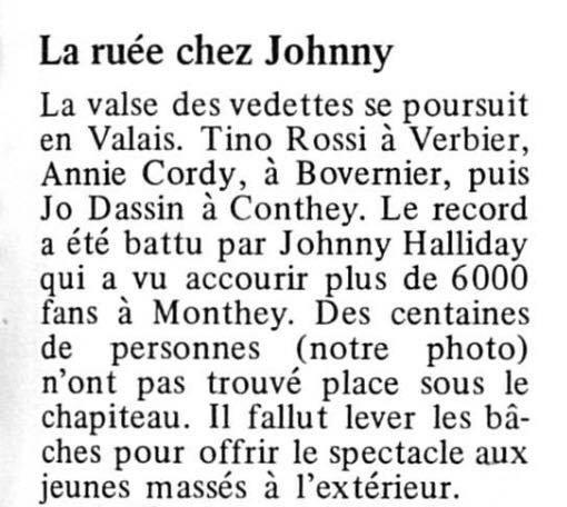 Passage de Johnny Hallyday à Monthey «Suisse, le canton du valais» le 18 mai 1977