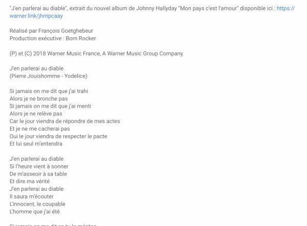 JOHNNY HALLYDAY «CLIP OFFICIEL, J'EN PARLERAI AU DIABLE»