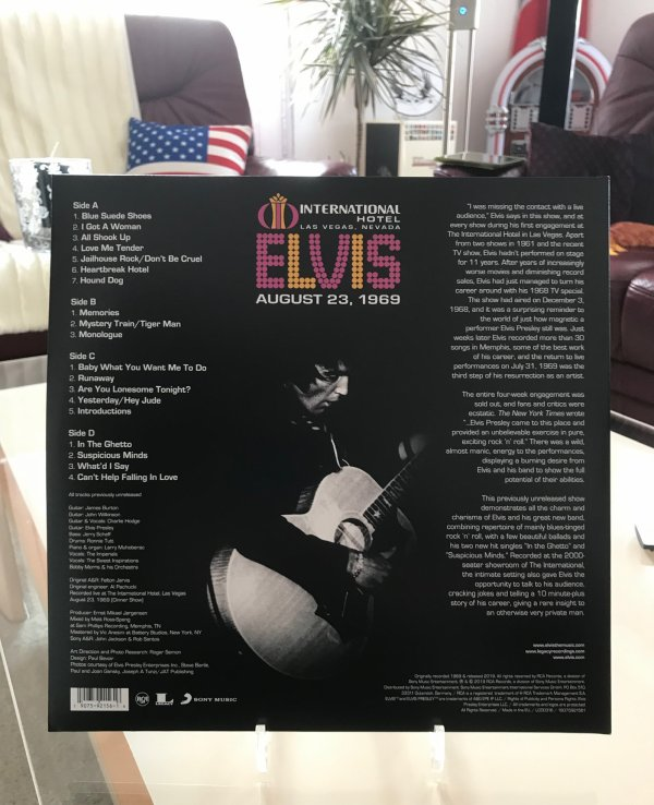 International Hôtel « Las Vegas, Nevada » Elvis 23 août 1969 « 50th anniversaire 2 LP « RECORD STORE DAY »