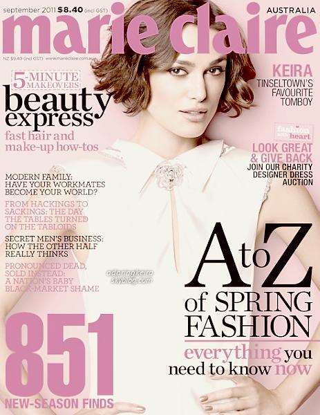 Magasine; Keira fait la couverture du magasine Marie Claire Australien. Je la trouve vraiment belle! J'espère que de nouvelles photos arriveront :)