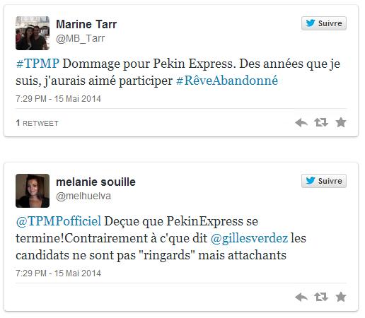 Touche Pas à Mon Poste annonce la fin de Pékin Express, Twitter déçu