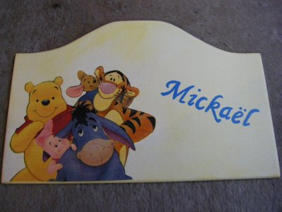 Plaque de Porte Winnie et ses Amis pour un petit Mickaël