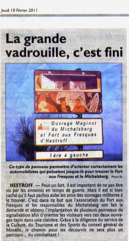 La grande vadrouille, c'est fini ; Républicain Lorrain 10/02/11